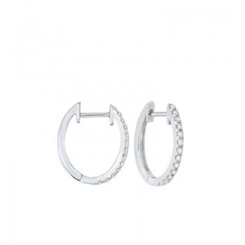 Prong Set Diamond Hoop Earrings In 14K White Gold (1/4 Ct. Tw.) SI2 - G/H