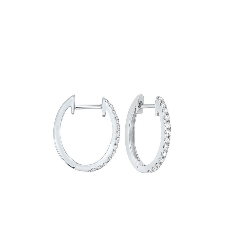 Prong Set Diamond Hoop Earrings In 14K White Gold (1/4 Ct. Tw.) SI2 - G/H