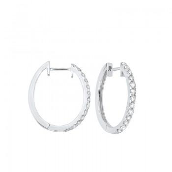 Prong Set Diamond Hoop Earrings In 14K White Gold (1/2 Ct. Tw.) SI2 - G/H