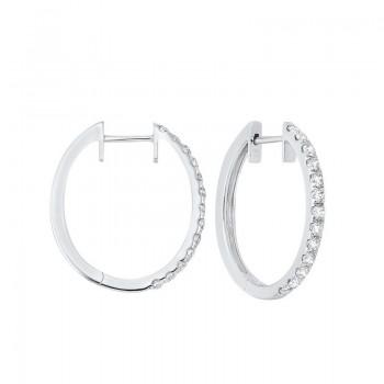 Prong Set Diamond Hoop Earrings In 14K White Gold (3/4 Ct. Tw.) SI2 - G/H