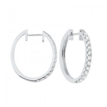Prong Set Diamond Hoop Earrings In 14K White Gold (1 Ct. Tw.) SI2 - G/H