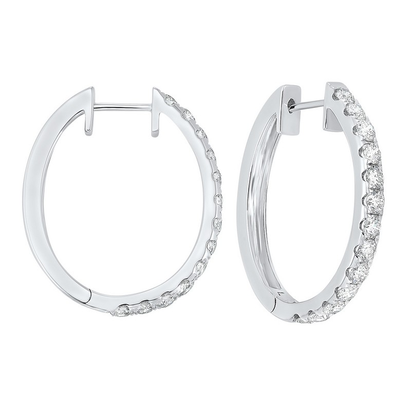 Prong Set Diamond Hoop Earrings In 14K White Gold (2 Ct. Tw.) SI2 - G/H