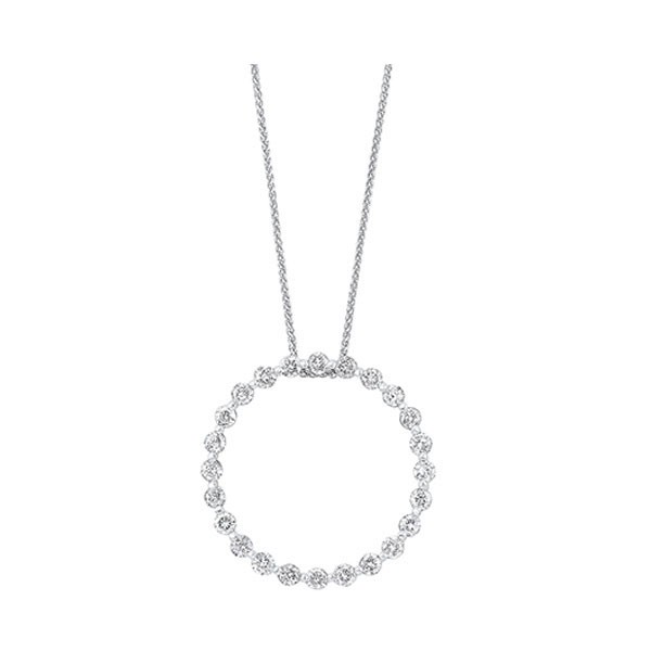 Diamond Eternity Circle Floating Pendant Necklace In 14k White Gold (1ctw)