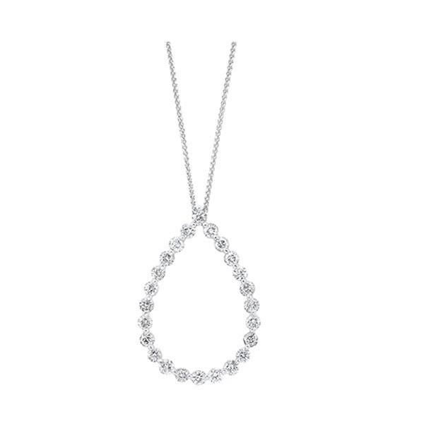 Diamond Eternity Teardrop Pendant Necklace In 14k White Gold (1 Ctw)