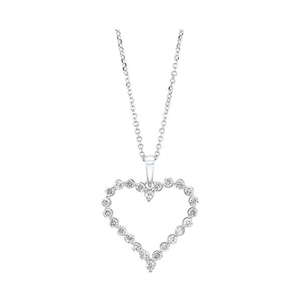 Diamond Open Heart Pendant Necklace In 14k White Gold (1/2ctw)