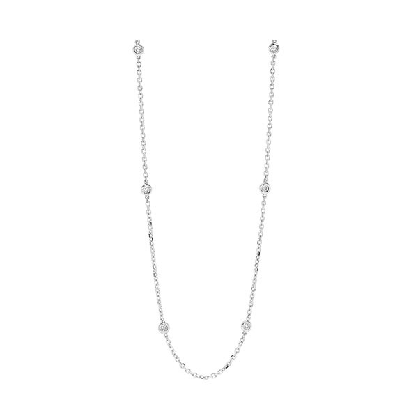 Diamond Station Necklace In 14k White Gold, Adjustable (1/4ctw)