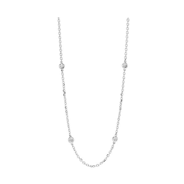 Diamond Station Necklace In 14k White Gold (1 1/2ctw)