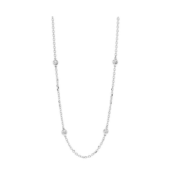 Diamond Station Necklace In 14k White Gold (2 Ctw)