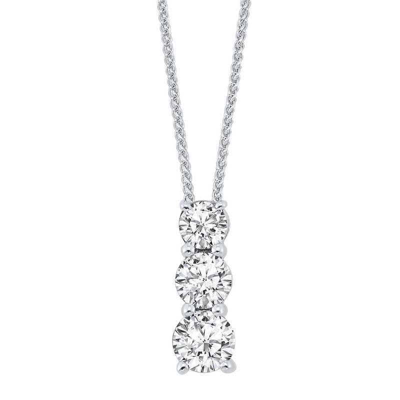Sterling Silver 3 Stone Prong Diamond Necklace  1/4CT