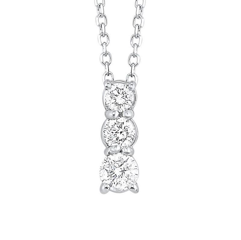 14K White Gold 3 Stone Prong Diamond Necklace 1/4CT
