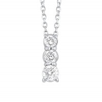 14K White Gold 3 Stone Prong Diamond Necklace (1/2 Ct. Tw.)