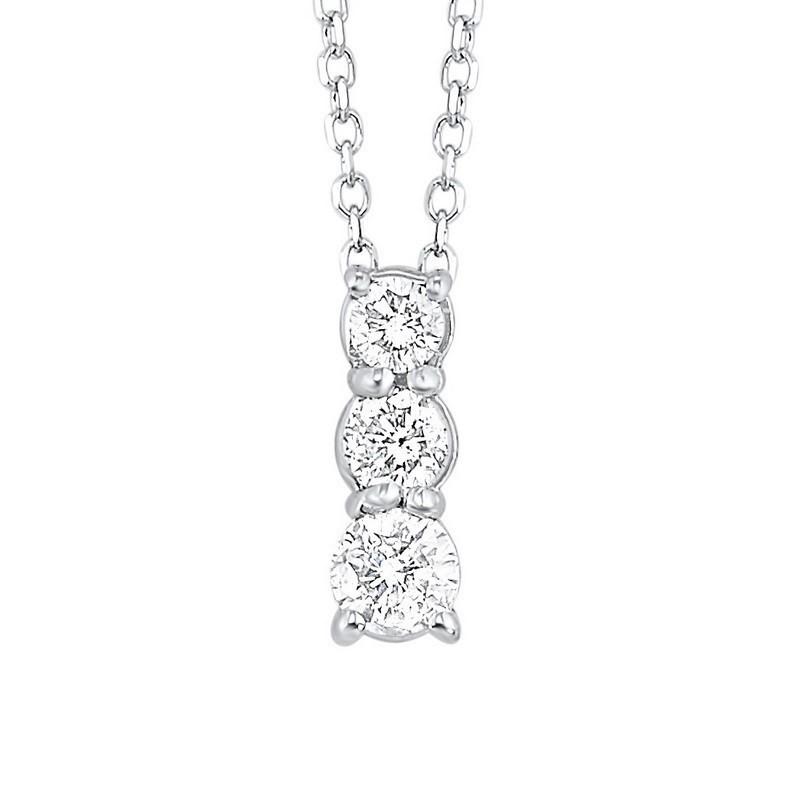 14K White Gold 3 Stone Prong Diamond Necklace 3/4CT