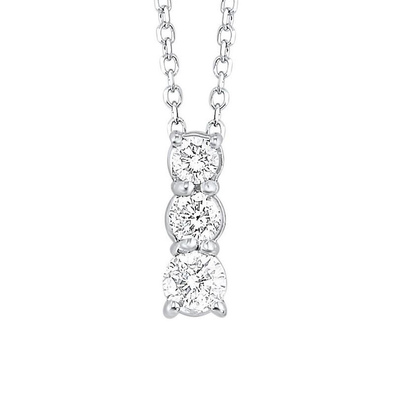 14K White Gold 3 Stone Prong Diamond Necklace (1 Ct. Tw.)