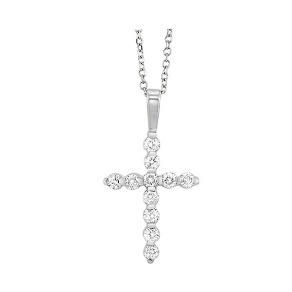 Diamond Classic Cross Pendant In 14k White Gold (3/4 Ctw)