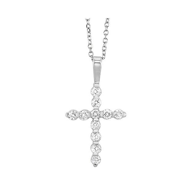 Diamond Classic Cross Pendant In 14k White Gold (1 Ctw)