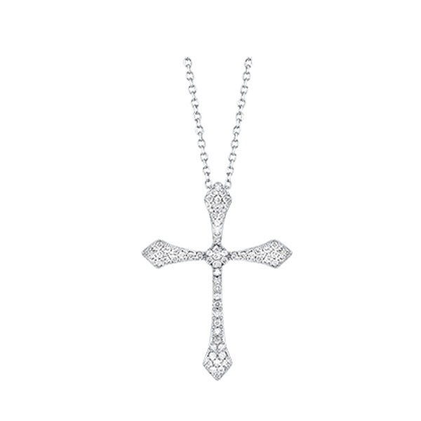 Diamond Celtic Cross Pendant Necklace In 14k White Gold (1/5 Ctw)