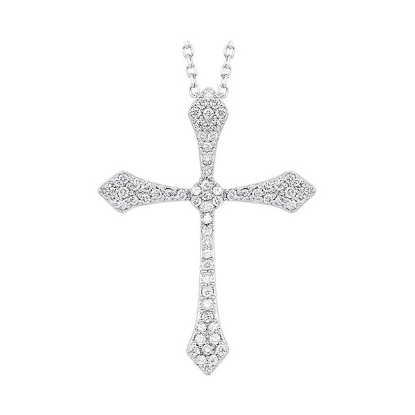 Diamond Celtic Cross Pendant Necklace In 14k White Gold (1/7 Ctw)