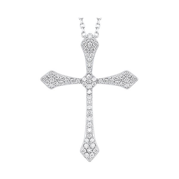 Diamond Celtic Cross Pendant Necklace In 14k White Gold (1/4 Ctw)