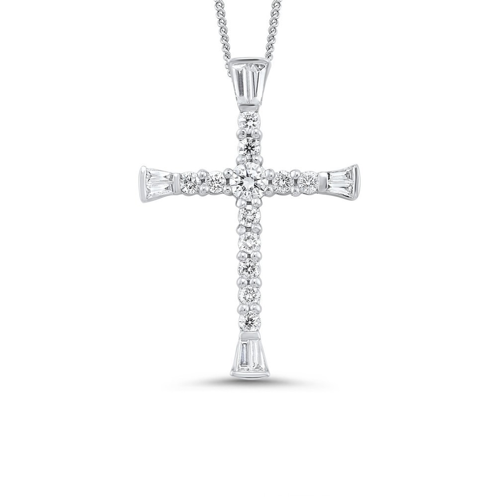Shared Prong Cross Diamond Necklace In 14K White Gold (3/8 Ct. Tw.)
