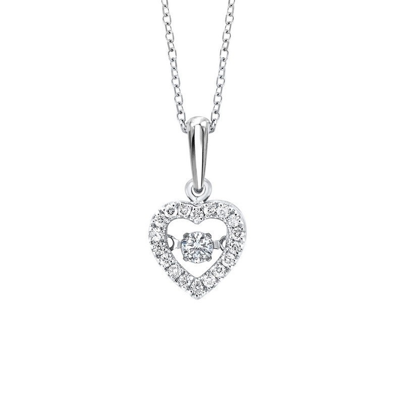 10K White Gold ROL Prong Diamond Necklace 1/5CT