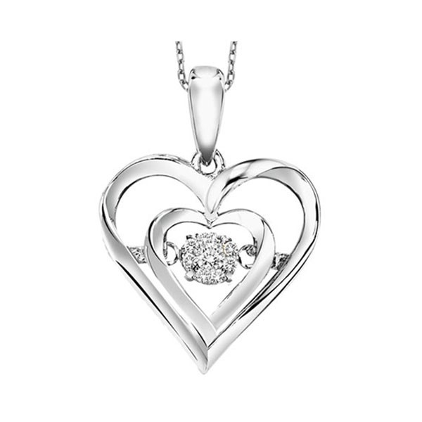 Diamond ROL Rhythm Of Love Double Heart Pendant In Sterling Silver