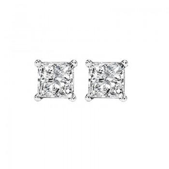 Princess Cut Diamond Studs In 14K White Gold (3/8 Ct. Tw.) SI2 - G/H