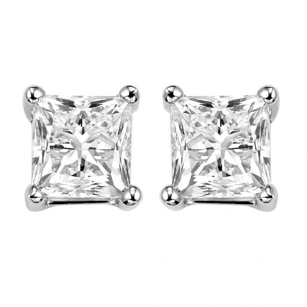 Princess Cut Diamond Studs In 14K White Gold (1 1/4 Ct. Tw.) SI2 - G/H