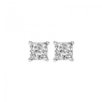 Princess Cut Diamond Studs In 14K White Gold (1/4 Ct. Tw.) I1 - G/H