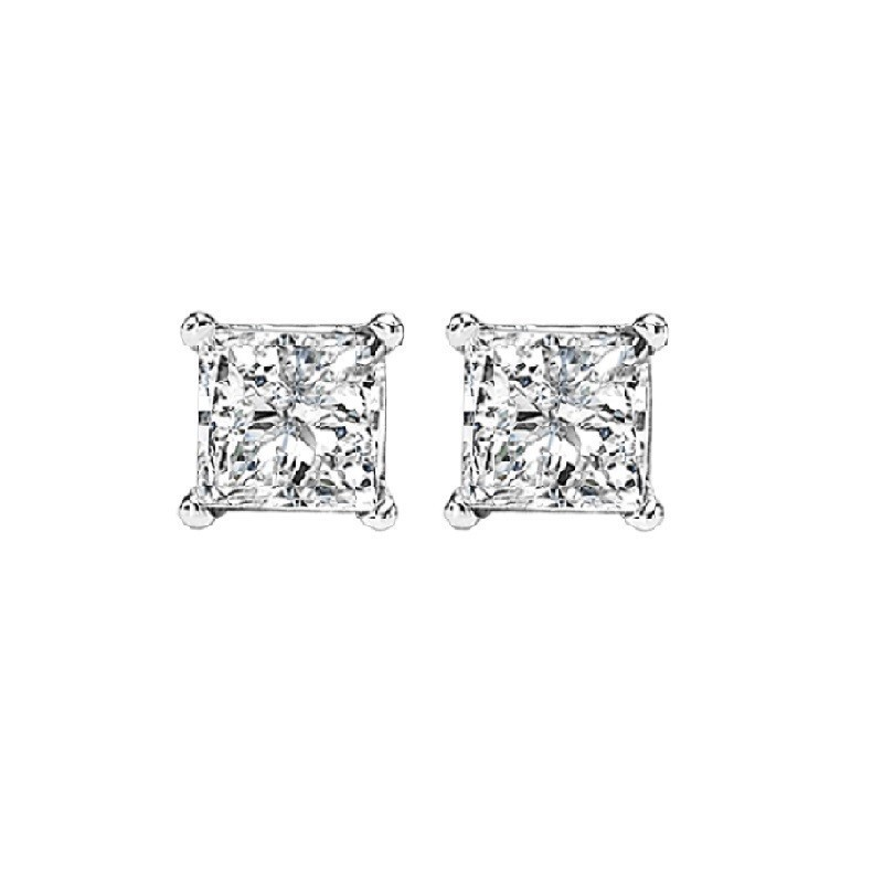 Princess Cut Diamond Studs In 14K White Gold (1/3 Ct. Tw.) I1 - G/H