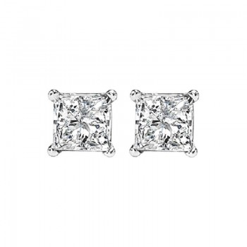 Princess Cut Diamond Studs In 14K White Gold (1/2 Ct. Tw.) I1 - G/H