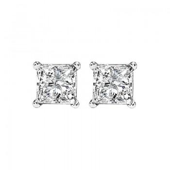 Princess Cut Diamond Studs In 14K White Gold (5/8 Ct. Tw.) I1 - G/H