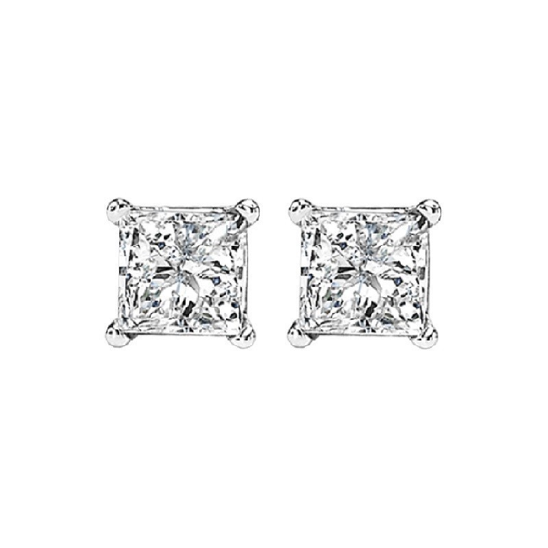 Princess Cut Diamond Studs In 14K White Gold (5/8 Ct. Tw.) I1 - G/H
