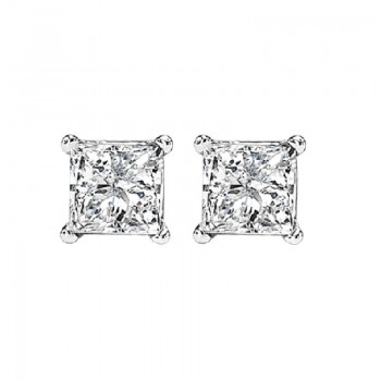 Princess Cut Diamond Studs In 14K White Gold (3/4 Ct. Tw.) I1 - G/H