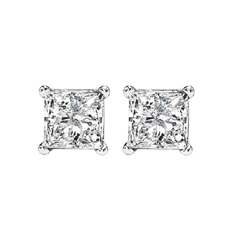 Princess Cut Diamond Studs In 14K White Gold (3/4 Ct. Tw.) I1 - G/H