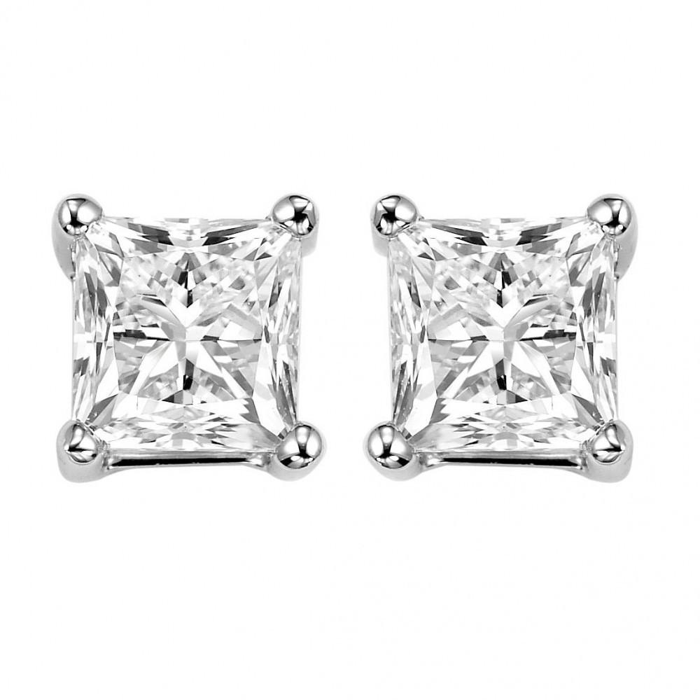 Princess Cut Diamond Studs In 14K White Gold (1 Ct. Tw.) I1 - G/H