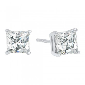 Princess Cut Diamond Studs In 14K White Gold (2 Ct. Tw.) I1 - G/H
