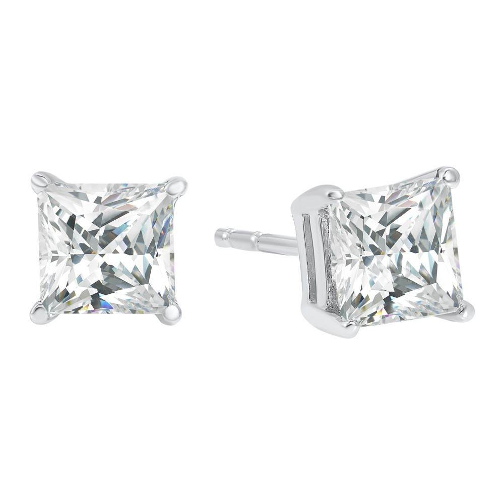 Princess Cut Diamond Studs In 14K White Gold (2 Ct. Tw.) I1 - G/H