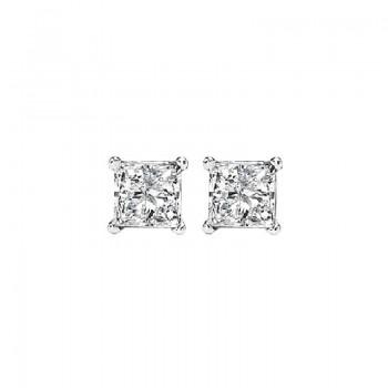 Princess Cut Diamond Studs In 14K White Gold (1/4 Ct. Tw.) I1/I2 - G/H