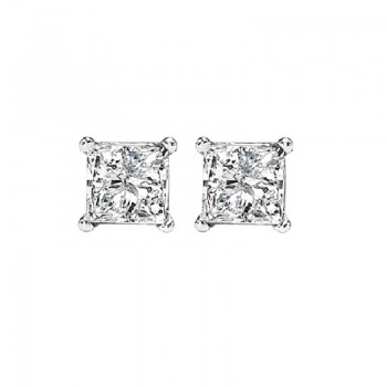 Princess Cut Diamond Studs In 14K White Gold (3/8 Ct. Tw.) I1/I2 - G/H