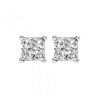 Princess Cut Diamond Studs In 14K White Gold (1/2 Ct. Tw.) I1/I2 - G/H
