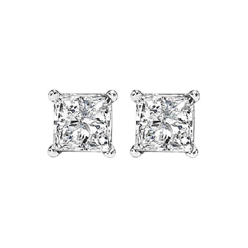 Princess Cut Diamond Studs In 14K White Gold (5/8 Ct. Tw.) I1/I2 - G/H