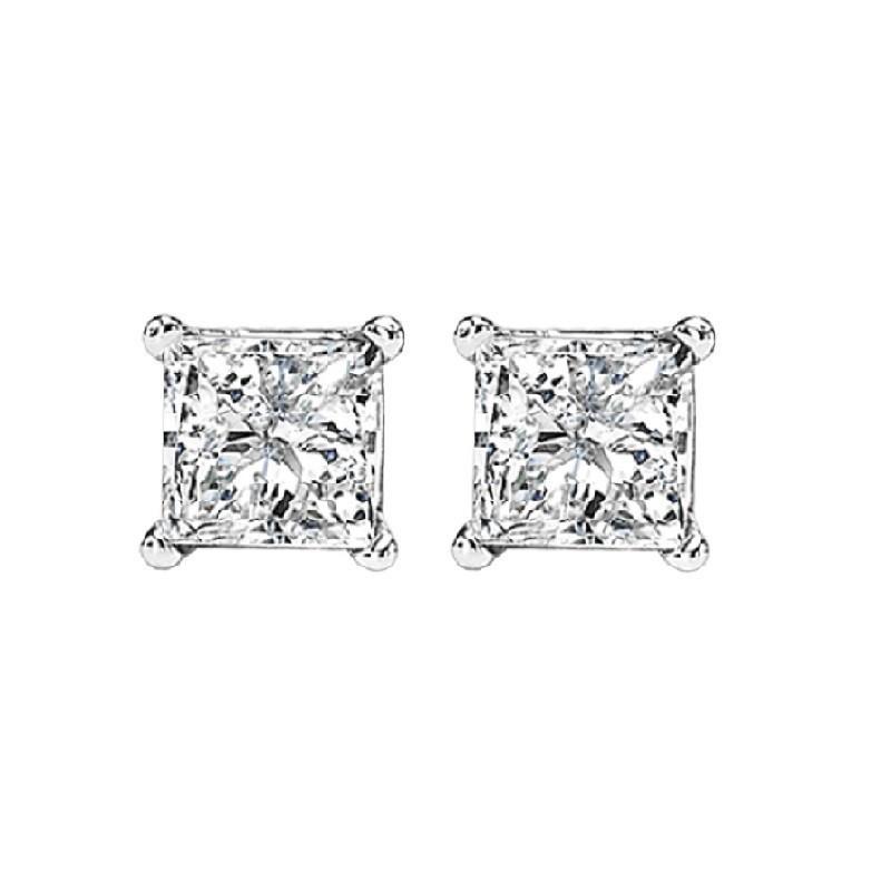 Princess Cut Diamond Studs In 14K White Gold (3/4 Ct. Tw.) I1/I2 - G/H