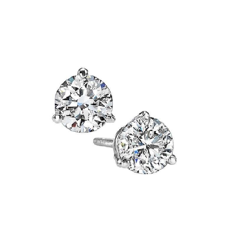 Martini Diamond Stud Earrings In 14K White Gold (3/8 Ct. Tw.) SI3 - G/H