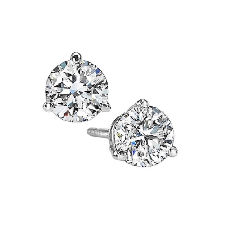 Martini Diamond Stud Earrings In 14K White Gold (1/2 Ct. Tw.) SI3 - G/H