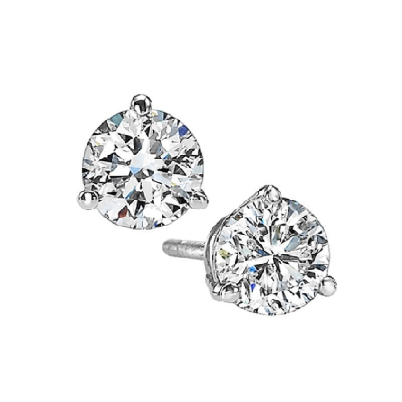 Martini Diamond Stud Earrings In 14K White Gold (3/4 Ct. Tw.) SI3 - G/H