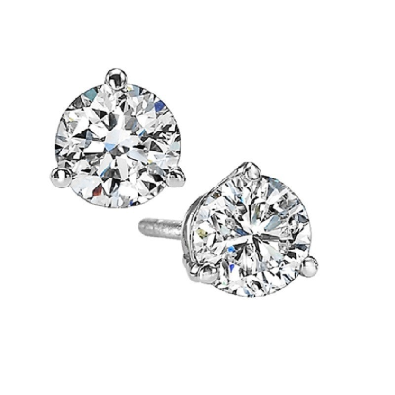 Martini Diamond Stud Earrings In 14K White Gold (1 Ct. Tw.) SI3 - G/H