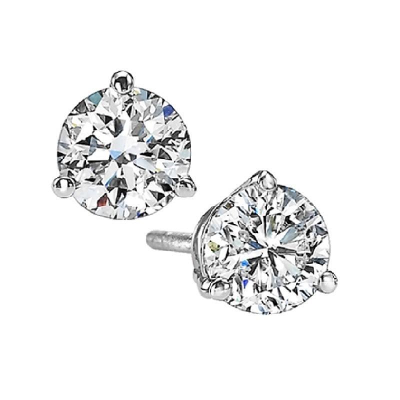 Martini Diamond Stud Earrings In 14K White Gold (1 1/4 Ct. Tw.) SI3 - G/H