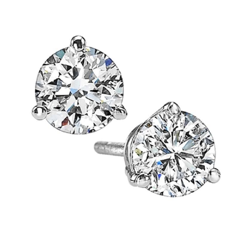 Martini Diamond Stud Earrings In 14K White Gold (2 Ct. Tw.) SI3 - G/H