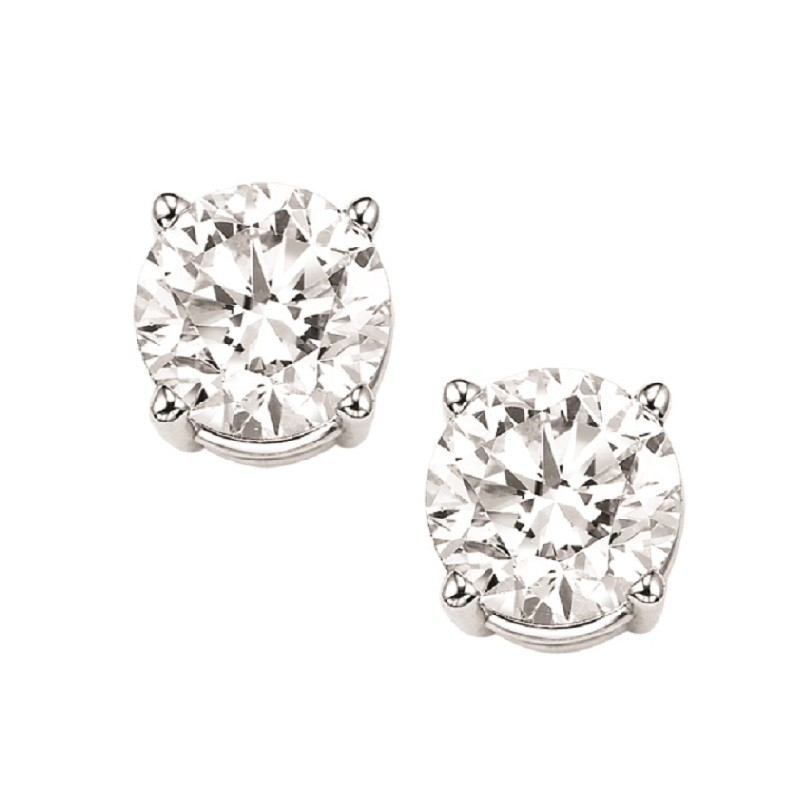 Diamond Stud Earrings In 18K White Gold (1 1/2 Ct. Tw.) I1 - G/H