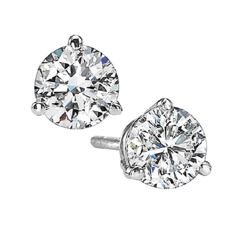 Martini Diamond Stud Earrings In 14K White Gold (1 1/2 Ct. Tw.) I1 - G/H